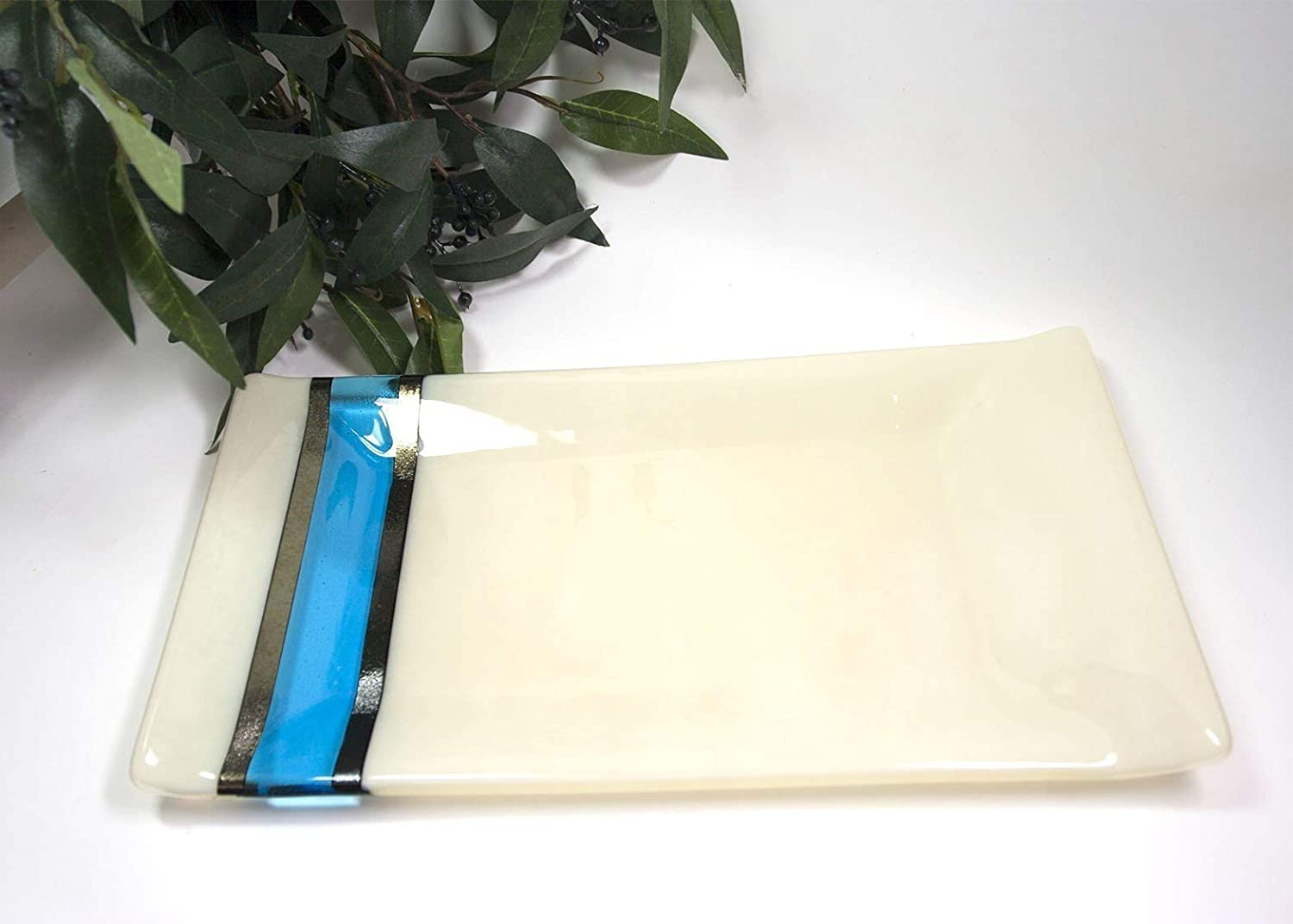 Fused Glass Platter Ivory and Blue Serving Plate Home Decor