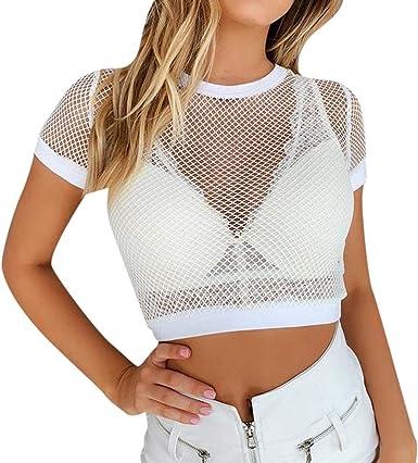 DressLksnf Camiseta Malla y Perspectiva para Mujer Sólido Blusas Cuello Redondo Camiseta Corta Sexy Transparente Blusa Moda Casual Camiseta Verano Deportiva Tops: Amazon.es: Ropa y accesorios