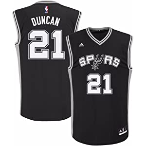 e9036e473 adidas Tim Duncan San Antonio Spurs NBA Men s Black Official Road Replica  Jersey