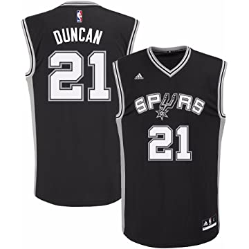 fd14f1f63 adidas Tim Duncan San Antonio Spurs NBA Men s Black Official Road Replica  Jersey