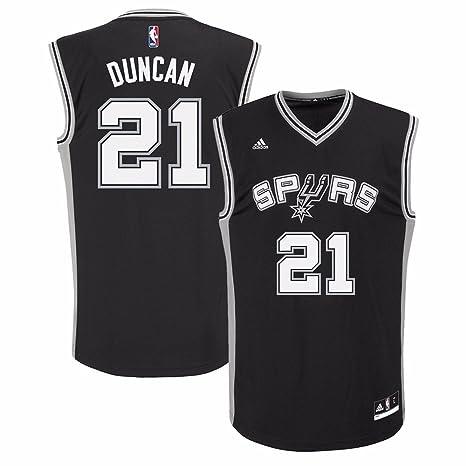 9659a41abae adidas Tim Duncan San Antonio Spurs NBA Men s Black Official Road Replica  Jersey (XL)