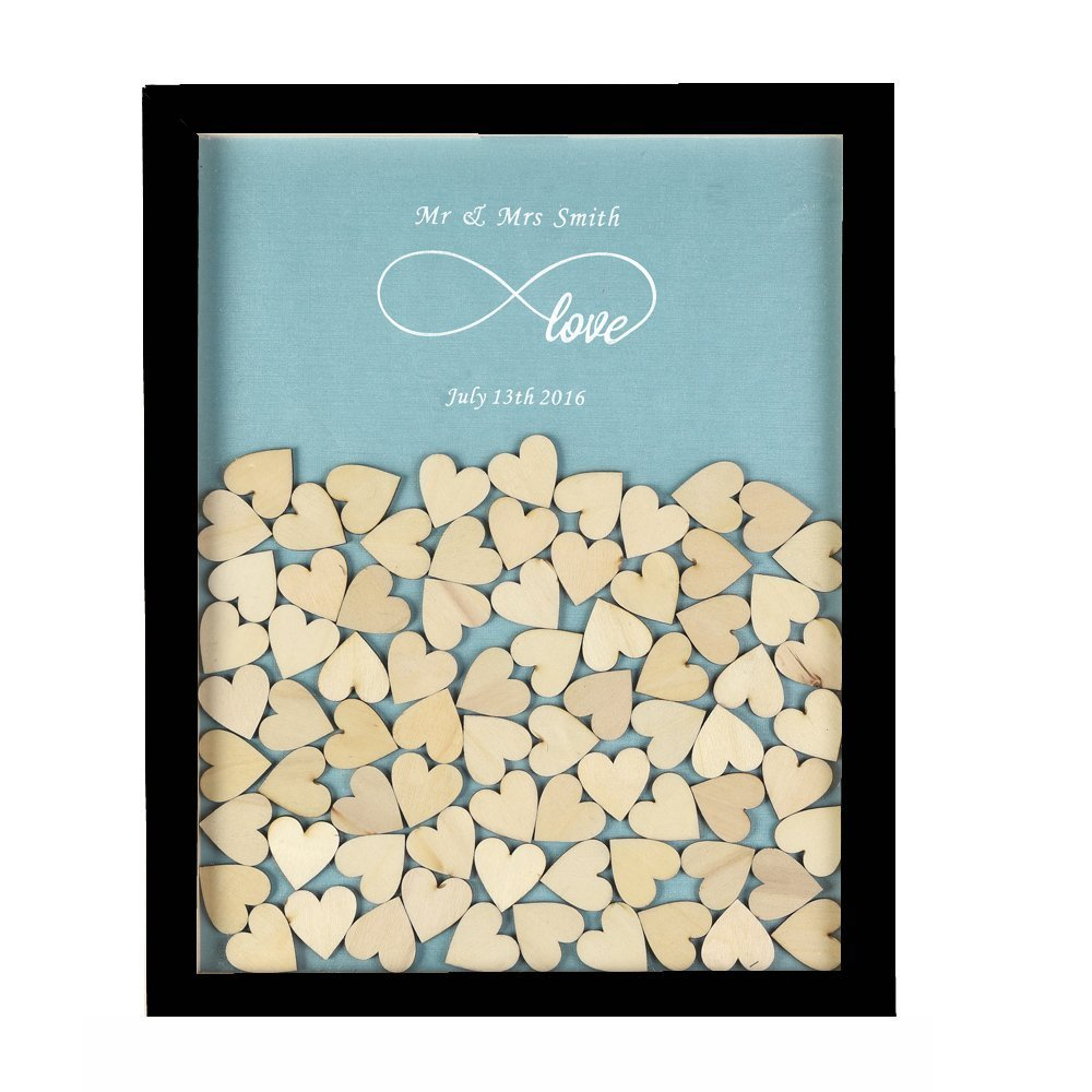 3D Wedding Guest Book Personalised Infinity Love Rustic Drop Top Fashion Signature Wooden Frame Wedding Guest Book Wood Drop Box Wedding Decoration With 120 Small Wood Hearts (Black & Canal Blue)