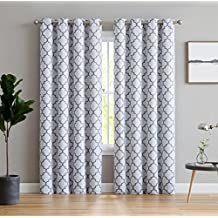 """HLC.ME Lattice Print Thermal Insulated Room Darkening Blackout Window Curtains for Bedroom - Platinum White & Grey - 52"""" W x 84"""" L - Pair"""
