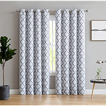 ME Lattice Print Thermal Insulated Blackout Window Curtains For Bedroom