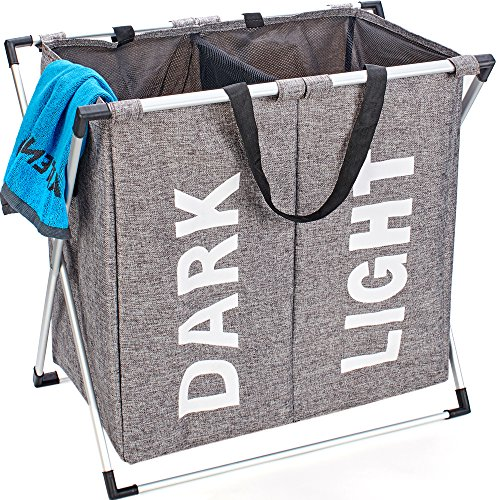 HOMEST 2 Sections Laundry Hamper Bag with Folding Aluminium X-frame 23.5