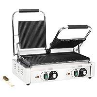 vidaXL Panini Grill Kontaktgrill silber klein Doubleplate Heater Balkon ✔ eckig ✔ Grillen mit Elektrogrill ✔ für den Tisch