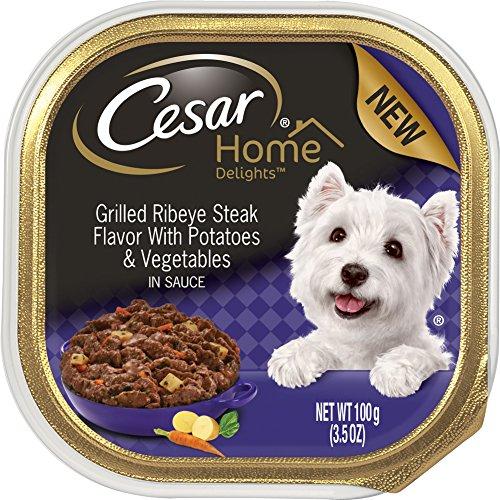 Cesar Home Delights Grilled Ribeye Steak Potatoes & Vegetables Wet Dog Food (24 Pack), 3.5 oz - Beef Ribs Recipes