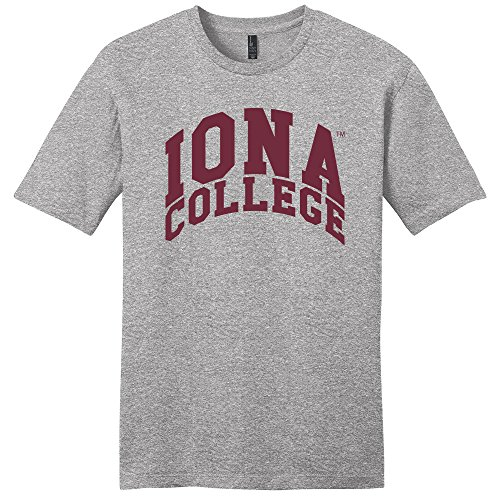 (Campus Merchandise NCAA Iona Gaels Arch Soft Style T-Shirt, Medium, Light Heather Grey)