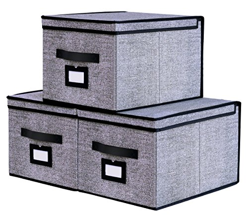 Onlyeasy Collapsible Storage Bins Pack of 3 - Foldable Storage Box Containers Organizer with Dust-proof Lids and Strong Handles, 11.8
