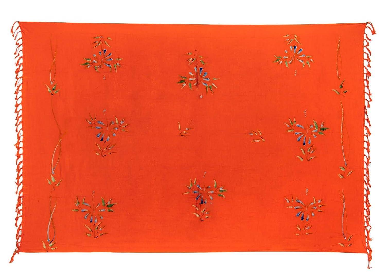 Premium Sarong Pareo Wickelrock Strandtuch Lunghi Dhoti Schlicht Blickdicht Tolles Blumen Muster Orange