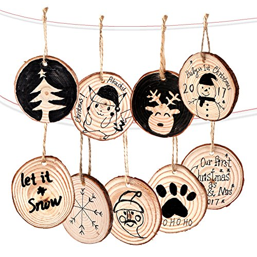 Unfinished Natural Round Wood Slices DIY Craft Rustic Wedding Decoration Christmas Tree Ornaments 50pcs Twines AerWo 50pcs Hanging Wood Slices