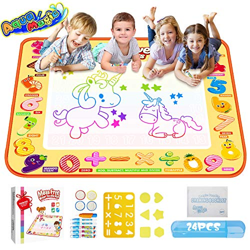 TECBOSS Toys for 2 Year Old Girl, AquaDoodle Water Drawing Mat, Water Doodle Mat for Toddler, Large Mess Free Kids Painting Writing Doodle Board Toy for Age 1 2 3 4 5 6 7 8 9 Girls Boys