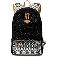 Casual and simple canvas bag computer bag schoolbag backpack for unisex. Black