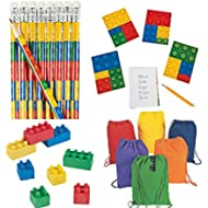 Back to School Lego Block Themed Supplies for 12 Includes Pencils, Erasers, Notepads, and...