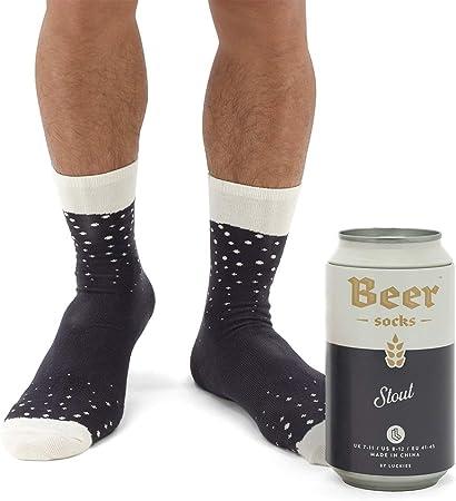 Stout scura Luckies of London Soup Socks Calzini particolari in lattina di birra Calzini da uomo colorati e divertenti con fantasia birra in morbido misto cotone