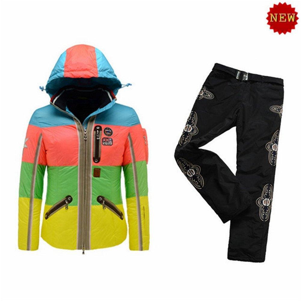 B0GNER Hooded Waterproof Outdoor Winter Sports Parka Windproof Women Neah-D Down Blue Ski Jacket and Black Ski Pants