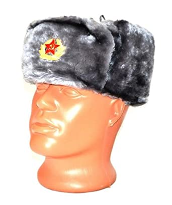 70243dcf59f Authentic Russian Ushanka Gray Military Hat w  Soviet Red Army Badge   Size  Large   Amazon.co.uk  Clothing