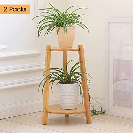 2 Pack Bamboo Plant Stand Plant Stands Indoor Outdoor Landing Pot Rack Stand Shelves for Home & Amazon.com : 2 Pack Bamboo Plant Stand Plant Stands Indoor Outdoor ...