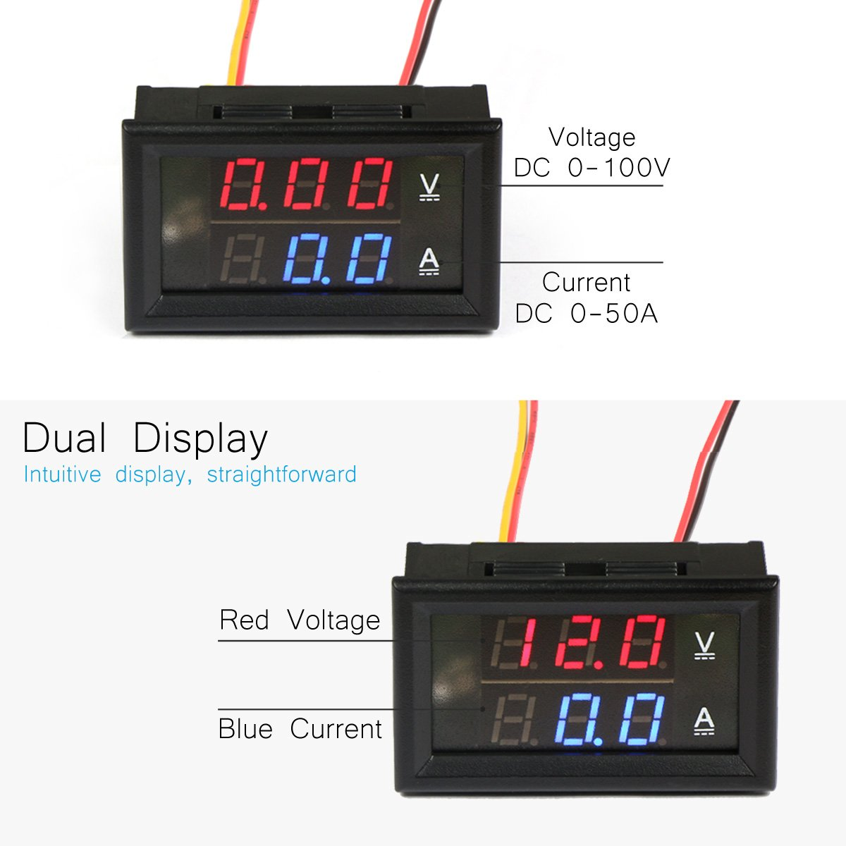 Drok Digital Led Current Voltage Measurement Dc 0 100v 50a Ampere Circuits The Bottom Blue Indicates Part Top Red Volt Meter Dual Color Testers Industrial Scientific