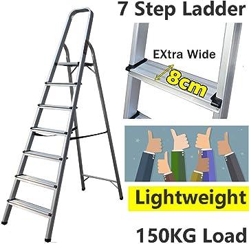 Escalera de 7 peldaños, ligera, de aluminio, portátil, para decoración, con pie de goma antideslizante, 150 kg de capacidad: Amazon.es: Bricolaje y herramientas