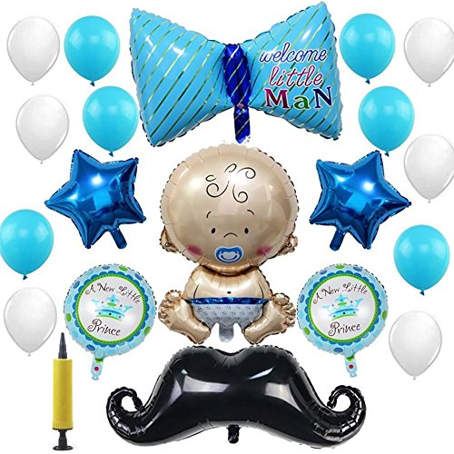 20 Pack Baby Boy Balloons Decoration Kit Welcome Baby Boy Party Decorations Gentle Bow Tie Cute Little Man Mustache Blue Star Handsome Prince Balloons Blue Boy Birthday Supplies