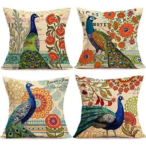 - ULOVE LOVE YOURSELF 4Pack Peacock Throw Pillow Covers Only Decorative Square Pillowcases Cotton Linen Cushion Cover 18 X 18 Inch (Peacock)