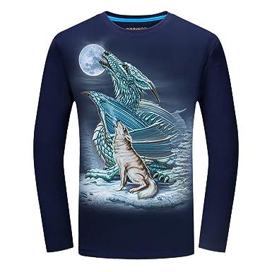 Men 3D Printed Long Sleeve T-Shirt Animal Male Hip Hop Tshirt ...