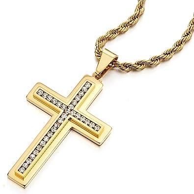 COOLSTEELANDBEYOND Color Oro Grande Colgante de Cruz, Collar ...
