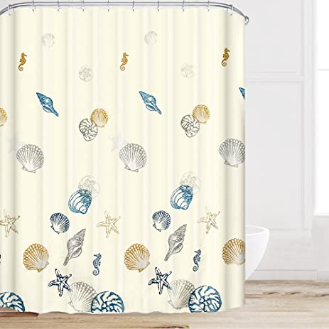 Eforcurtain Ocean Pattern Bathroom Shower Curtain Fabric With Hooks,  Starfish Pattern Waterproof Mould Proof