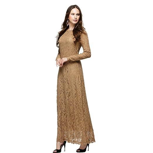 BOZEVON Mujeres Elegante Encaje Vestido de Musulmán Árabe Túnica Manga Larga Largos Caftán Vestidos, 5 Colores: Amazon.es: Ropa y accesorios