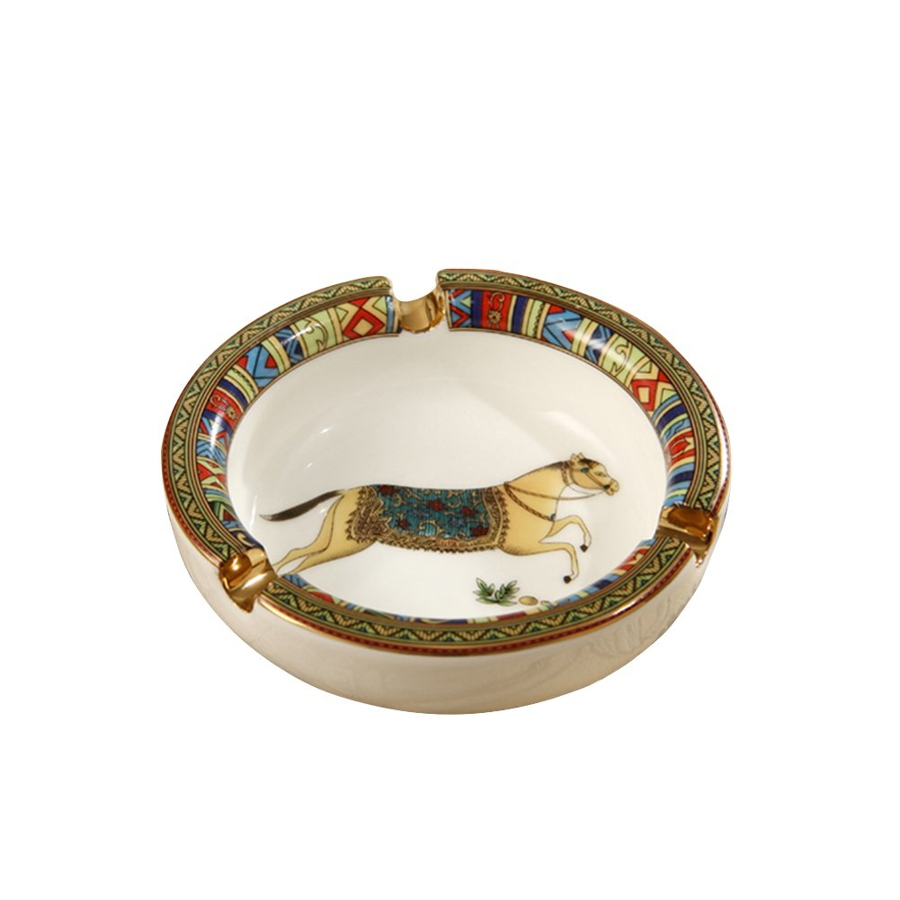 Liitrton Elegant European Style Ceramic Cigar Ashtray Round Ash Tray Stylish Desktop Decor (Horse Pattern)
