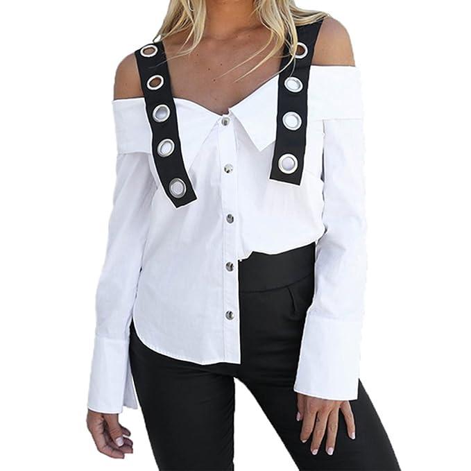 Mujer Fuera del Hombro Camiseta, Moda Manga Larga Color Sólido Blusa Sexy Camisetas Casual Primavera Otoño Camisas Tops Blanco S-XL: Amazon.es: Ropa y ...