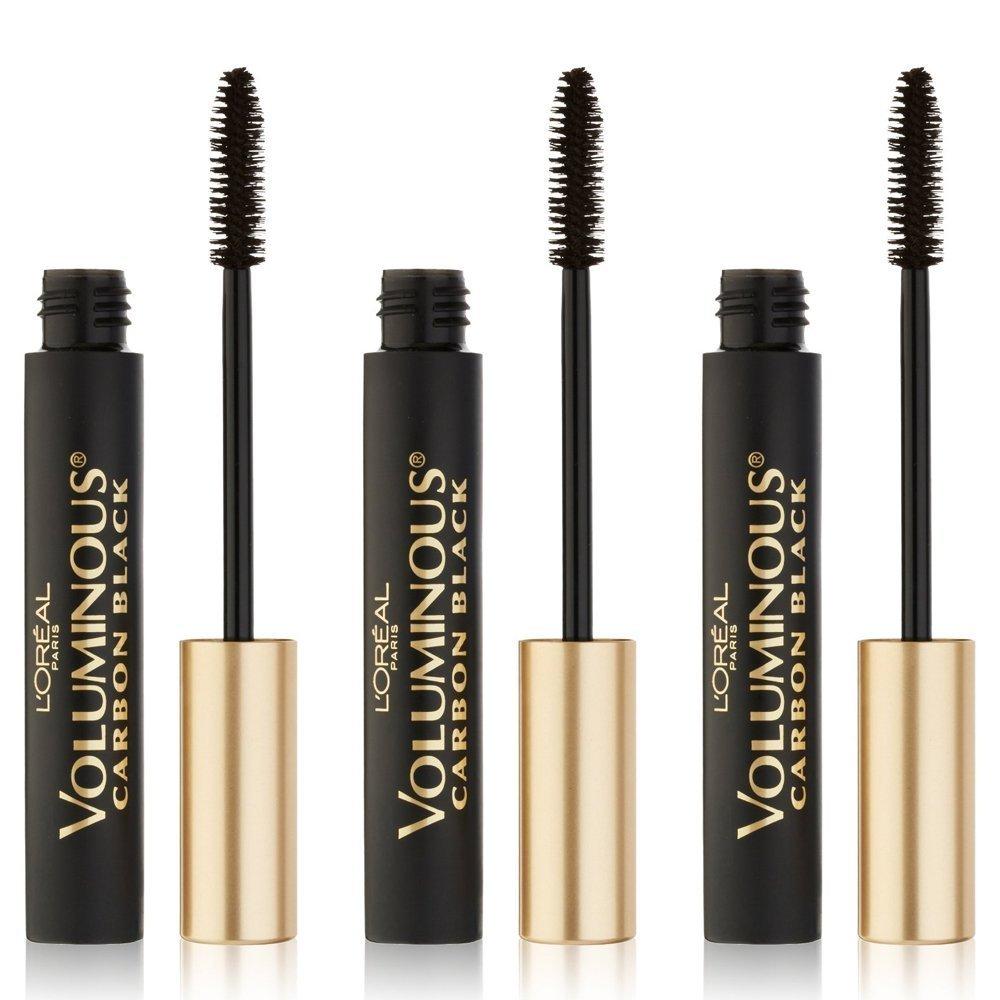 eaa1581181d Amazon.com : L'Oreal Paris Voluminous Waterproof Mascara, Carbon Black,  0.23 fl. oz. (3-pack) : Beauty