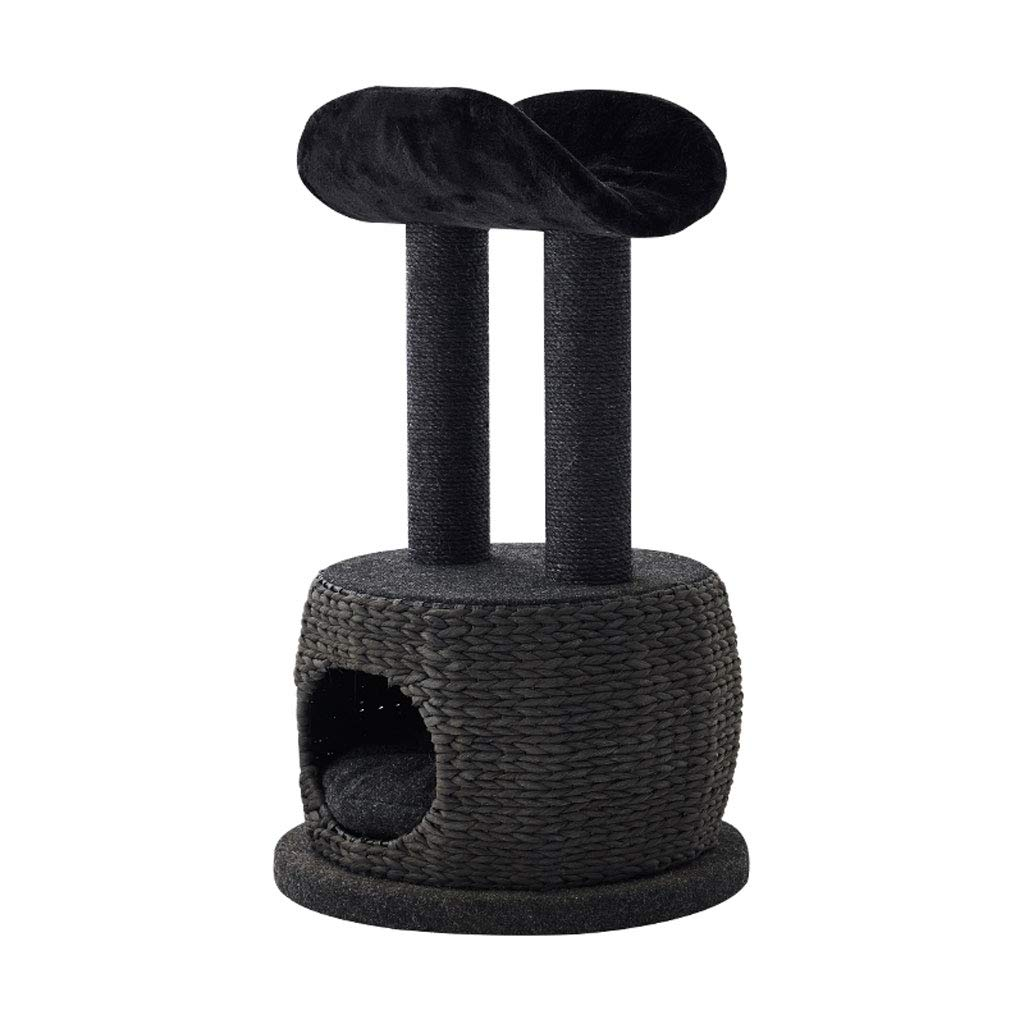 Cat Trees Cat Climbing Frame, Short Plush Fabric Sisal Cat Tree Tower Wear and Scratch Resistant Four Seasons Universal (Black) Cat Houses