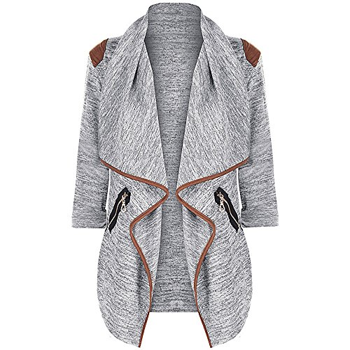 TWGONE Long Sleeve Cardigans For Women Plus Size Knitted Tops Jacket Outwear (US-12/CN-3XL,Gray) -