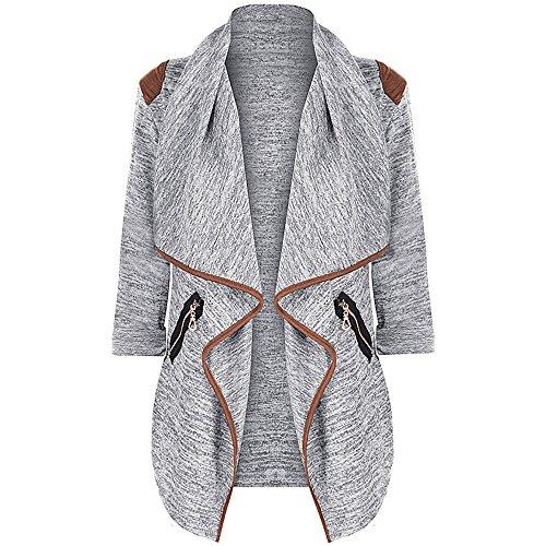 Sunhusing Women's Solid Color Raglan Sleeve Irregular Ruffle Trim Zipper Pocket Cardigan - Trim Georgette Cardigan