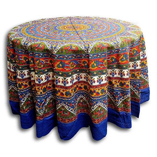India Arts Handmade 100% Cotton Mandala Floral Elephant Tablecloth 90