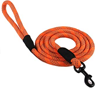 "Max and Neo Rope Leash Reflective 6 Foot - We Donate a Leash to a Dog Rescue for Every Leash Sold (Orange, 6 FT x 1/2"")"