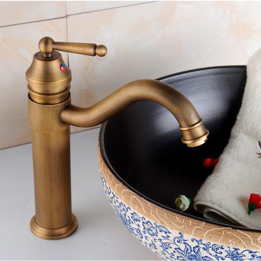 MEIBATH Waschtischarmatur Badezimmer Waschbecken Wasserhahn Küchenarmaturen Einzelne Bohrung Messing antik Warmes und Kaltes Wasser mit Küchen Wasserhahn Badarmatur