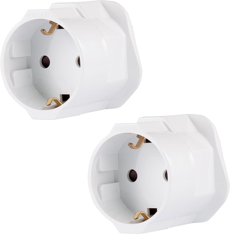 2 unidades (doble pack.)conector de viaje, adaptador de Alemania-Reino Unido para estancia en Reino Unido, Gran Bretaña, Inglaterra, conector de 2 pines Schuko a 3 pines de RU, en diferentes colores de