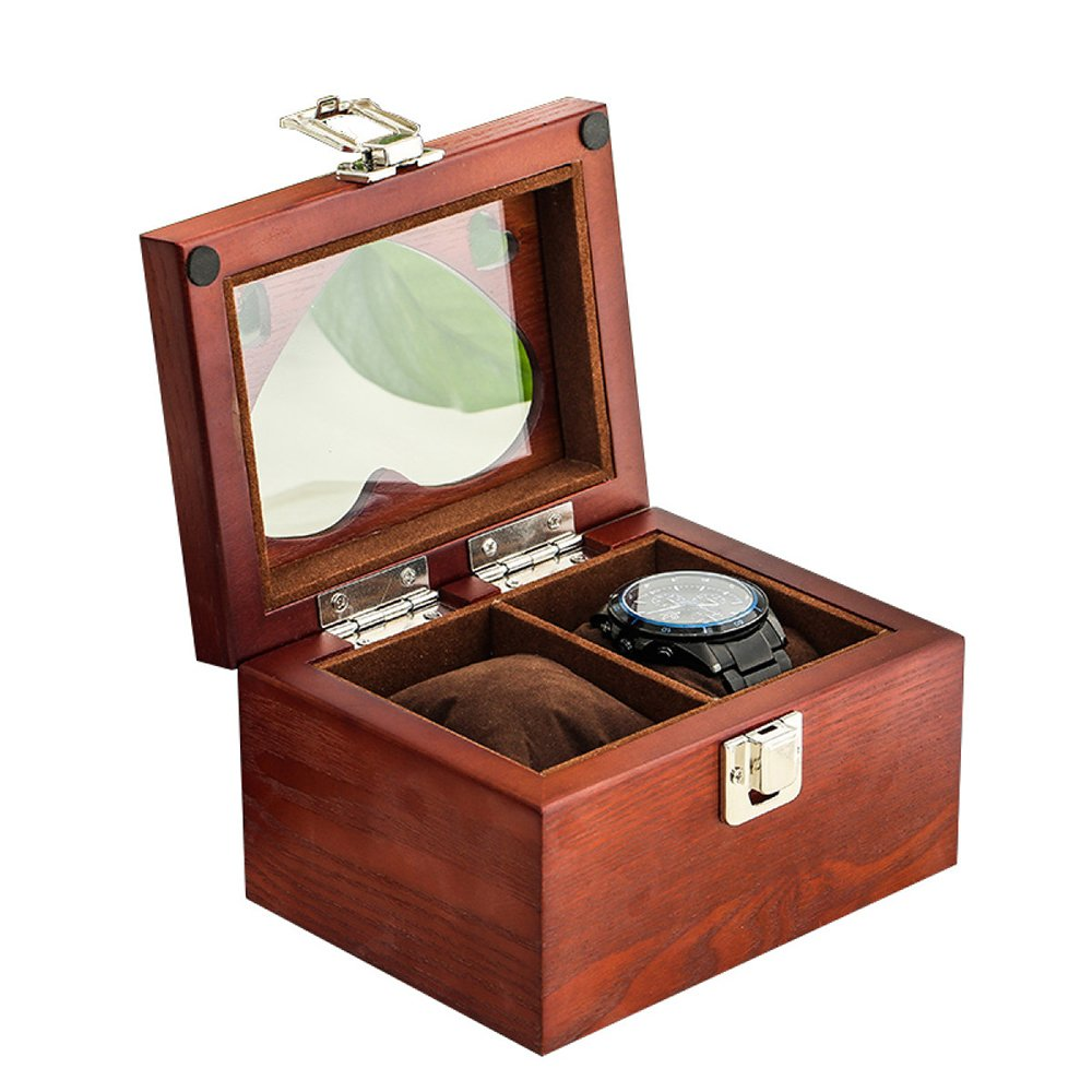 Watch Box Wood 2 Slots Watch Jewelry Display Storage Boxes With Glass Top And Removal Storage Pillows With Lock,OneColor