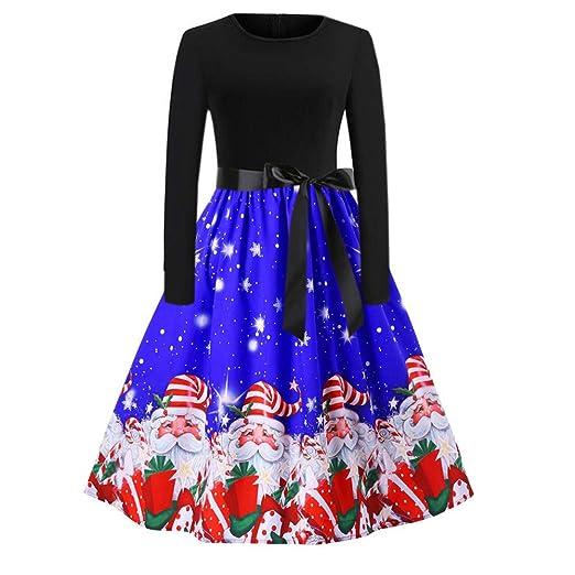 62ff72b2f35 Franterd Christmas Women Dress Vintage Christmas Santa Claus Print Party  Retro A-Line Swing Dress