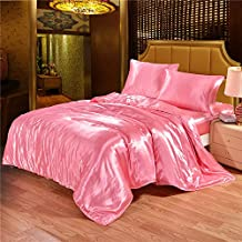 Dometool Color Silk Like Bedding Set Luxury Silky Satin Duvet Cover Flat Sheet Pillowcases Set,Twin