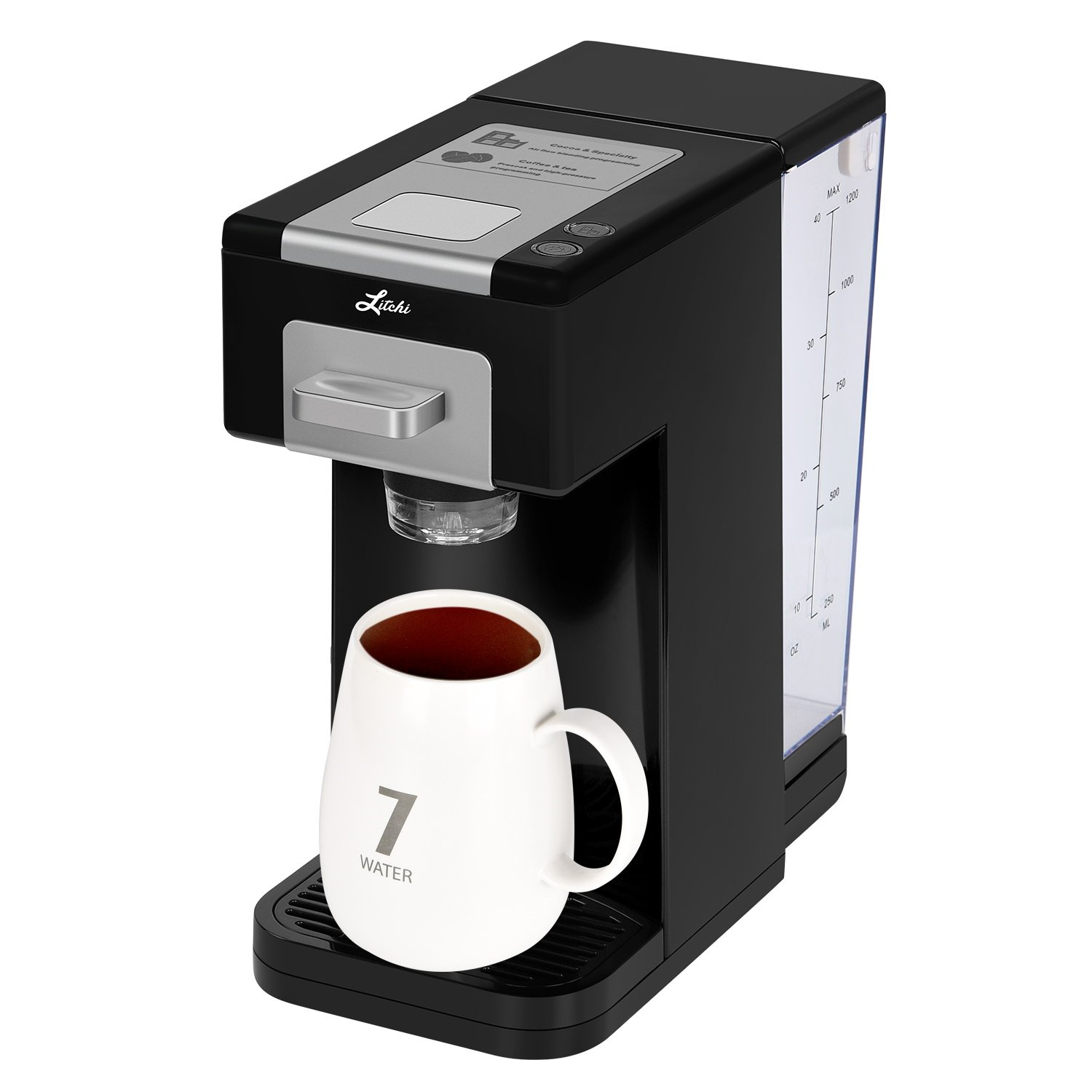 Litchi Single Serve Coffee Maker, Coffee Machine for Most Single Cup Pods Including K Cup Pods, Quick Brew Technology 4 Cup Coffee Maker, Black