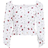 Vintage Print Chiffon Blouse Shirt 2018 Square Neck Ruffles White Short Tops Women