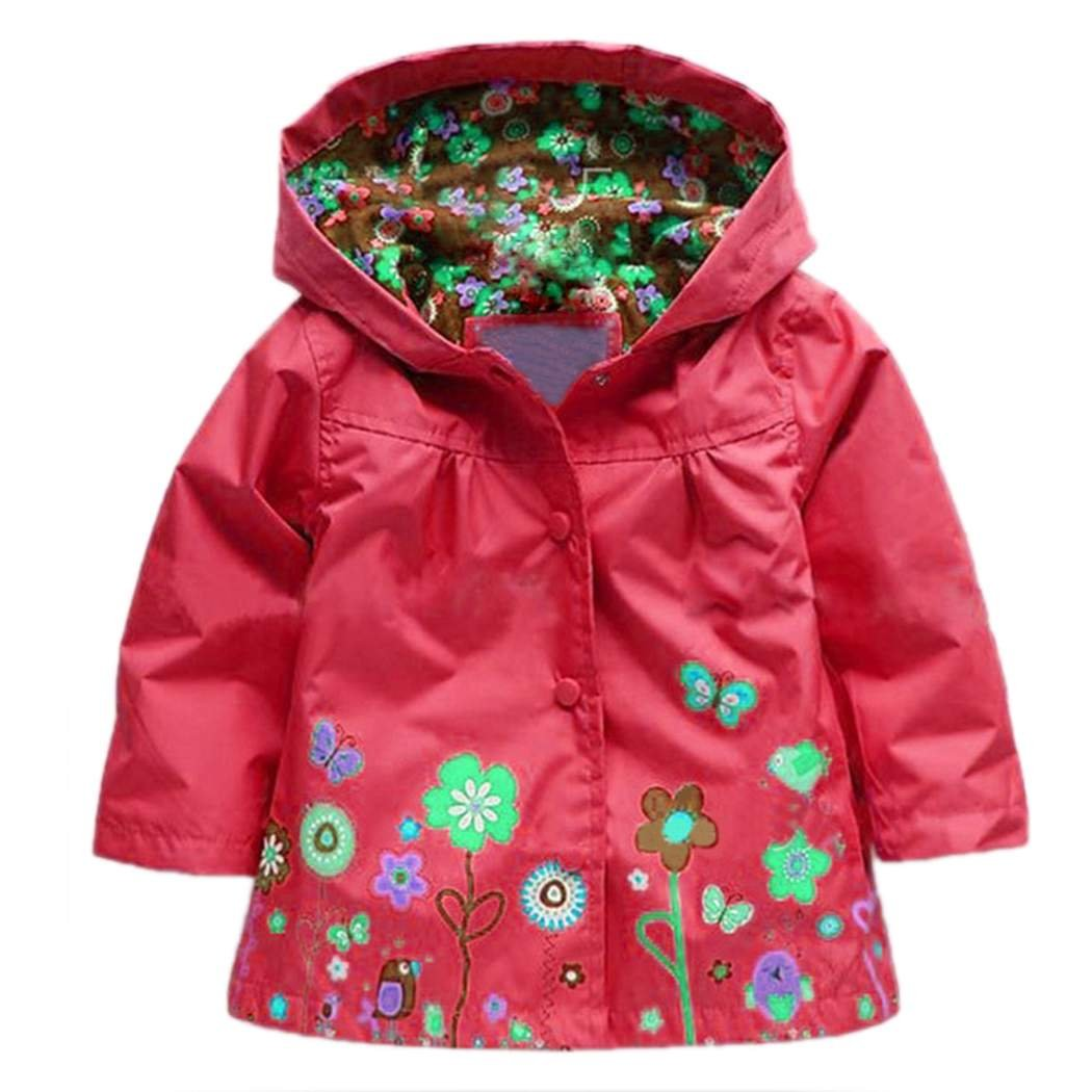 Arshiner Girl Baby Kid Waterproof Hooded Coat Jacket Outwear Raincoat Hoodies Red 120 Age for 4 5Y