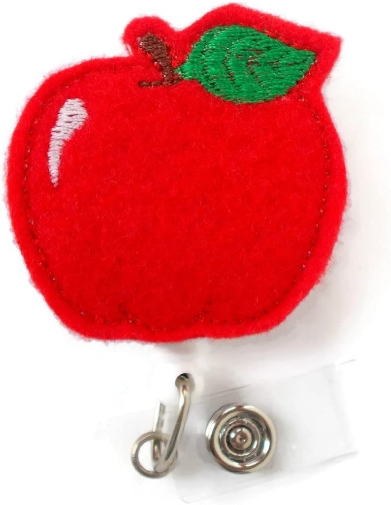 Red Apple - Retractable ID Badge Reel - Name Badge Holder - Teacher Badge Reel - Teacher Badge Holder - Nursing Badge - Felt Badge-AlligatorClip