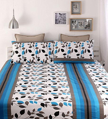 100% Cotton Double Bedsheets With 2 Pillow Covers, Snuggles 144 TC Floral Blue Bedsheet