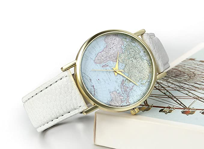Amazon.com: JewelryWe Classic Leather Watch World Map Pattern Quartz Wristwatch Unisex Birthday Gift: Watches