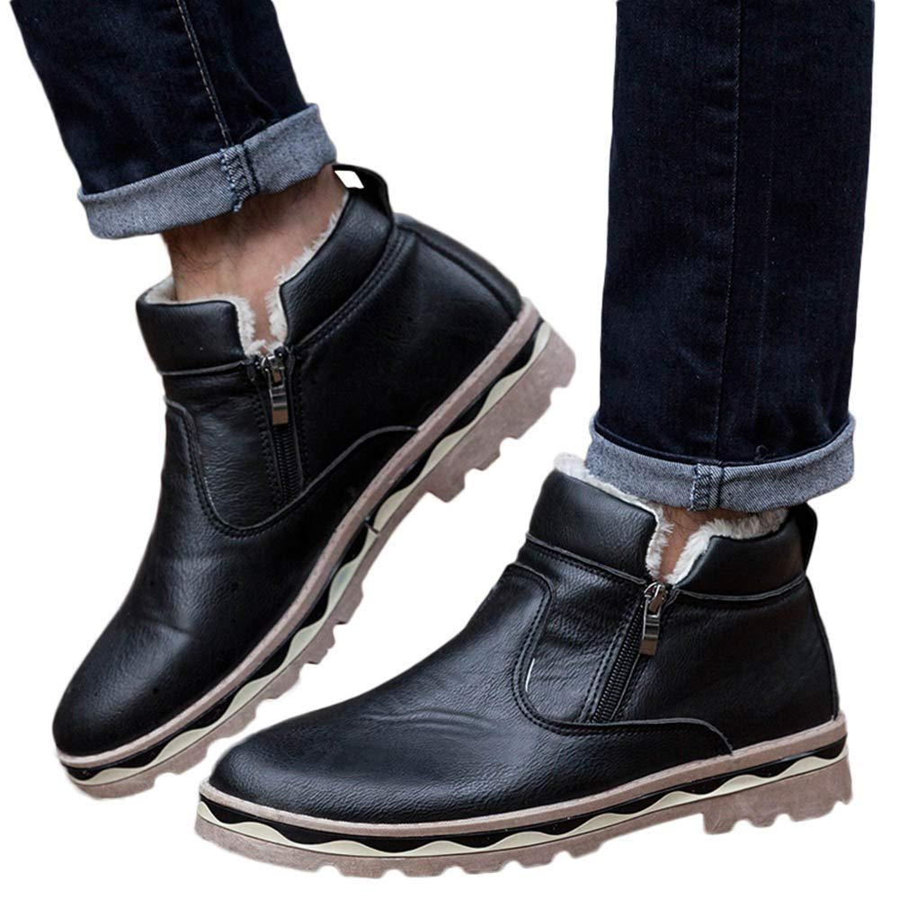 Memela Clearance Sale!!Mens Casual Martin Boots Student Snow Boots Winter Plush Leather Boots